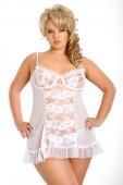 Белое мини-платье с кружевом XL