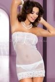 Белое мини-платье с кружевом SM
