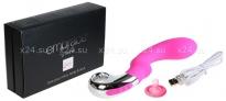 Мощный массажер G-точки на подзарядке EMBRACE G-WAND (6 режимов) ярко-розовый с серебряным