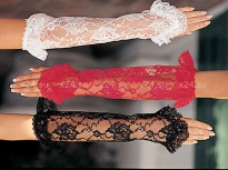 Красные кружевные перчатки с рюшами