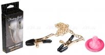 Золотые зажимы на соски с цепью Nipple Clamps
