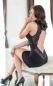 Черное стрейчевое мини-платье с открытой спинкой и вышивкой ML