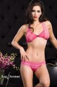 Кружевной розовый комплект