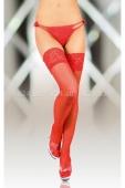 Красные чулки с широкой кружевной резинкой на силиконовых  полосках XL
