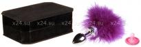 Малая металлическая серебряная пробка с фиолетовой опушкой Toyfa