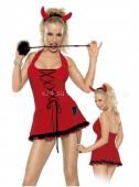 Красное мини-платье чертёнка на шнуровке