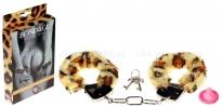 Металлические наручники с леопардовым мехом Furry Cuffs Leopard