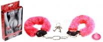Металлические наручники с красным мехом Furry Cuffs Red