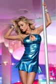Блестящее мини-платье с открытой спинкой