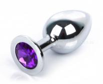 Большая серебряная пробка с фиолетовым кристаллом