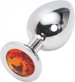 Большая серебряная пробка с оранжевым кристаллом
