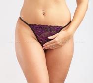 Черно-фиолетовые кружевные стринги L