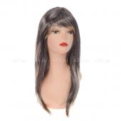 Карнавальный парик, черные волосы мелированные