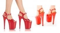 Туфли красные лакированные на очень высокой платформе 39