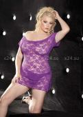 Фиолетовое кружевное платье с узором Queen Size