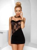 Чёрное мини-платье с кружевной вставкой Tiffany Chemise 3XL