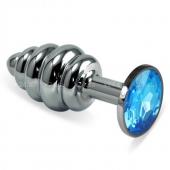 Малая рельефная серебряная пробочка с голубым кристаллом