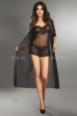 Чёрный прозрачный халат с кружевными вставками Fuksja Dressing Gown XL