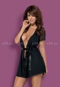 Короткий черный халат с гипюровыми рукавами Miamor Robe XXL