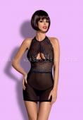 Чёрное мини-платье с вырезом на груди Oriens Chemise LXL