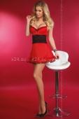 Красное платье с чёрной вставкой на талии Callidora M