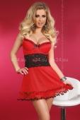 Красное платье с чёрной вставкой на талии Callidora S