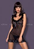 Чёрная прозрачная сорочка Electra Chemise LXL