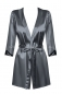 Серый атласный халатик с кружевом на рукавах Satinia Robe LXL