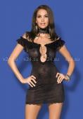 Черное платье с открытыми плечами и вырезом на груди с украшением Diamond Chemise SM