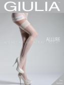 Белые чулки с узорами на боках на силиконовой полоске Allure №5 Bianco 20 Den 1/2 XS/S