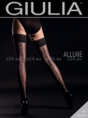 Чёрные чулки с узорами сзади на силиконовой полоске Allure №2 Nero 20 Den 1/2 XS/S