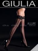 Чёрные чулки с узорами на боках на силиконовой полоске Allure №1 Nero 20 Den 1/2 XS/S