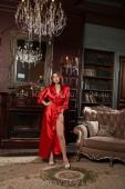 Длинный красный атласный халатик с кружевом LXL