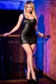 Черное блестящее мини-платье на завязках сзади LXL