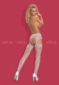 Белые колготки в сеточку с имитацией чулок Garter Stockings S502 LXL