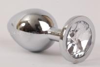 Большая серебристая пробочка с прозрачным кристаллом