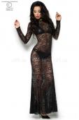 Комплект из гипюрового платья в пол, лифа и трусиков под кожу M