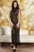 Чёрное ажурное платье в пол с вырезами по бокам SM