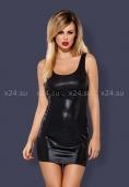 Черное блестящее мини-платье на шнуровке сзади Obsydian Wetlook LXL