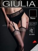 Чёрные чулки под пояс с фантазийным узором SECRET NERO XSS (20 den)