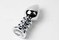 Большая серебряная пробка с прозрачным кристаллом и рельефной ножкой