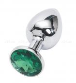 Малая серебряная пробочка с изумрудным кристаллом
