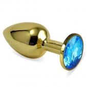 Малая золотая пробочка с голубым кристаллом
