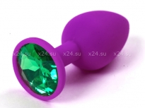 Небольшая силиконовая втулка с зеленым кристаллом Sexy Friend