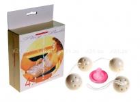 Вагинальные шарики четырехрядные Play Balls слоновой кости
