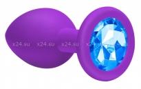 Большая силиконовая пробка с голубым кристаллом Cutie Large