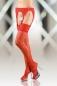 Чулки лайкровые с кружевным поясом XL (4 размер) красные