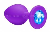 Малая силиконовая пробочка с голубым кристаллом Cutie Small