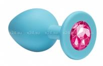 Большая силиконовая пробка с розовым кристаллом Cutie Large