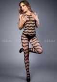Черный комбинезон с имитацией плетения змеиной чешуи LE FRIVOLE